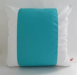 Sunbrella Color Block Pillow Cover - Aruba and White