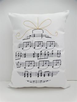 "Sunbrella Embroidered Musical Ornament Indoor Outdoor Pillow Cover - 16"" x 12"""