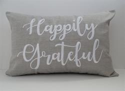 Sunbrella Embroidered Sentiment Indoor Outdoor Pillow Cover - Happily Grateful - Cast Silver