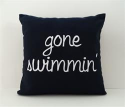 Sunbrella Embroidered gone swimmin' Indoor Outdoor Pillow Cover