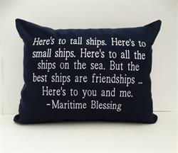 "Sunbrella Embroidered Maritime Blessing Pillow Cover - 14"" x 18"""