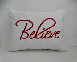"Sunbrella Embroidered Believe Indoor Outdoor Pillow Cover - White 14"" x 18"""
