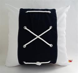 Sunbrella Color Block Pillow Cover With Rope - Navy and White