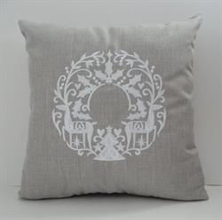Sunbrella Embroidered Scandinavian Christmas Wreath Indoor Outdoor Pillow Cover - Cast Silver