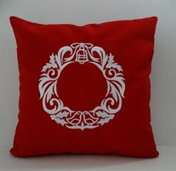 Sunbrella Embroidered Scandinavian Christmas Wreath Indoor Outdoor Pillow Cover - Jockey Red