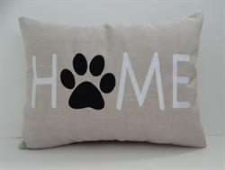 Sunbrella Embroidered Dog Home Indoor Outdoor Pillow Cover - Flax