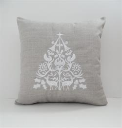 Sunbrella Embroidered Scandinavian Christmas Tree Indoor Outdoor Pillow Cover - Cast Silver
