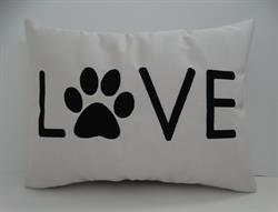 Sunbrella Embroidered Dog Love Indoor Outdoor Pillow Cover - Canvas Canvas