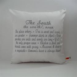 Sunbrella Embroidered The South Pillow Cover - White and Grey