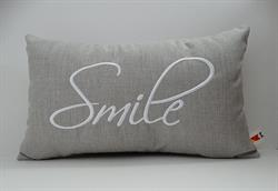 Sunbrella Embroidered Sentiment Indoor Outdoor Pillow Cover - Smile - Cast Silver
