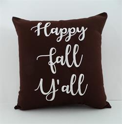 Sunbrella Embroidered Sentiment Indoor Outdoor Pillow Cover - Happy Fall Y'all - Bay Brown