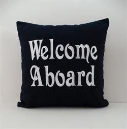 Sunbrella Embroidered Welcome Aboard Indoor Outdoor Pillow Cover