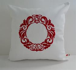 Sunbrella Embroidered Scandinavian Christmas Wreath Indoor Outdoor Pillow Cover