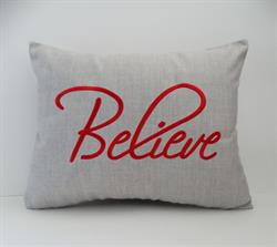"Sunbrella Embroidered Believe Indoor Outdoor Pillow Cover - Cast Silver 14"" x 18"""