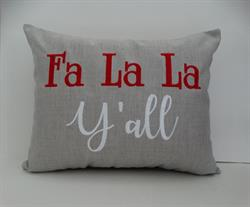 Sunbrella Embroidered Fa La La Y'all Indoor Outdoor Pillow Cover - Cast Silver