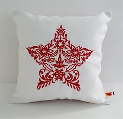 Sunbrella Embroidered Scandinavian Christmas Star Indoor Outdoor Pillow Cover