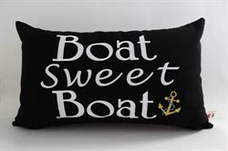 Sunbrella Embroidered Boat Sweet Boat Indoor Outdoor Pillow Cover - Black