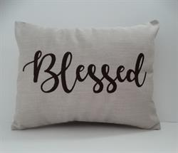 "Sunbrella Embroidered Sentiment Indoor Outdoor Pillow Cover - Blessed - Flax - 12"" x 16"""