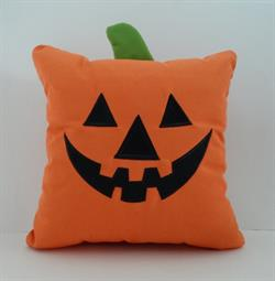 Sunbrella Embroidered Autumn Halloween Jack-O-Lantern Indoor Outdoor Pillow Cover