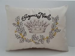 Sunbrella Embroidered Christmas Joyeaux Noel Indoor Outdoor Pillow Cover - Cast Silver