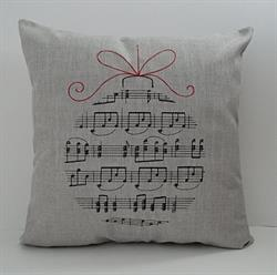 Sunbrella Embroidered Musical Ornament Indoor Outdoor Pillow Cover - Cast Silver