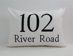 Sunbrella Mongrammed Indoor Outdoor Pillow Cover - House Number With Street Name I