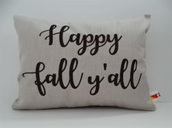 "Sunbrella Embroidered Sentiment Indoor Outdoor Pillow Cover - Happy Fall Y'all - Flax - 12"" x 16"""