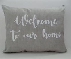 Sunbrella Embroidered Welcome to our home Indoor Outdoor Pillow Cover - Cast Silver