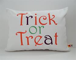 Sunbrella Embroidered Autumn Halloween Trick Or Treat Indoor Outdoor Pillow Cover - White