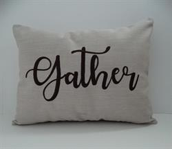 Sunbrella Embroidered Sentiment Indoor Outdoor Pillow Cover - Gather - Flax