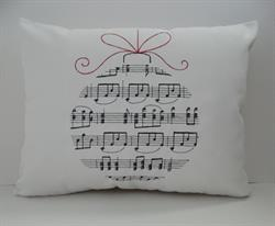"Sunbrella Embroidered Musical Ornament Indoor Outdoor Pillow Cover - White - 14"" x 18"""