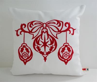 Sunbrella Embroidered Scandinavian Christmas Ornaments Indoor Outdoor Pillow Cover