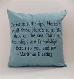 Sunbrella Embroidered Maritime Blessing Outdoor Pillow Cover - Mineral Blue