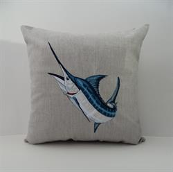 Sunbrella Embroidered Game Fish Blue Marlin Pillow Cover - Cast Silver