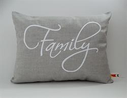 Sunbrella Embroidered Sentiment Indoor Outdoor Pillow Cover - Family - Cast Silver