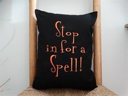 Sunbrella Embroidered Autumn Halloween Stop In For A Spell Indoor Outdoor Pillow Cover