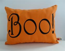 Sunbrella Embroidered Autumn Halloween Boo Indoor Outdoor Pillow Cover - Orange