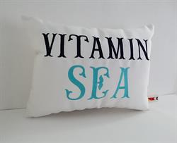 Sunbrella Embroidered Sea Pillow Cover - Vitamin Sea - White