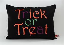 Sunbrella Embroidered Autumn Halloween Trick Or Treat Indoor Outdoor Pillow Cover