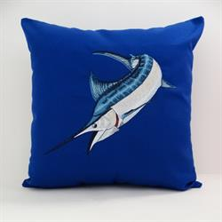 Sunbrella Embroidered Game Fish Blue Marlin Pillow Cover - True Blue
