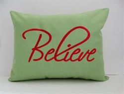 Sunbrella Embroidered Believe Indoor Outdoor Pillow Cover - Parrot
