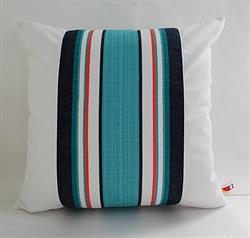 Sunbrella Color Block Pillow Cover - Token Surfside and White