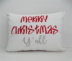 Sunbrella Embroidered Merry Christmas Y'all Indoor Outdoor Pillow Cover - White