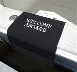 "Sunbrella Custom Embroidered Welcome Aboard Boarding Mat For Boat Gunnel - Robin Font - 20"" x 35"""