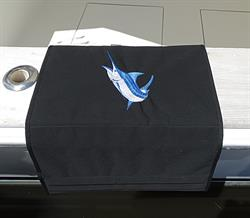 "Sunbrella Custom Embroidered Blue Marlin Boarding Mat For Boat Gunnel - 20"" x 35"""