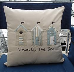 Sunbrella Embroidered Sea Pillow Cover - Down By The Sea