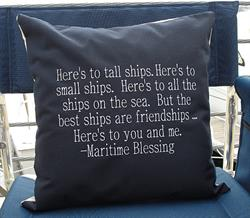 Sunbrella Embroidered Maritime Blessing Pillow Cover - Navy
