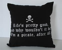 Sunbrella Embroidered Pirate Pillow Cover - Life's Pretty Good - Black