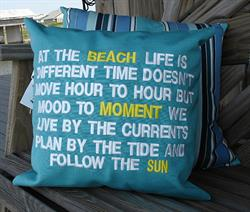 Sunbrella Embroidered Quote Pillow Cover - Follow The Sun - Aruba