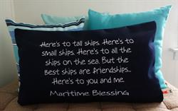 "Sunbrella Embroidered Maritime Blessing Pillow Cover - 12""x20"""
